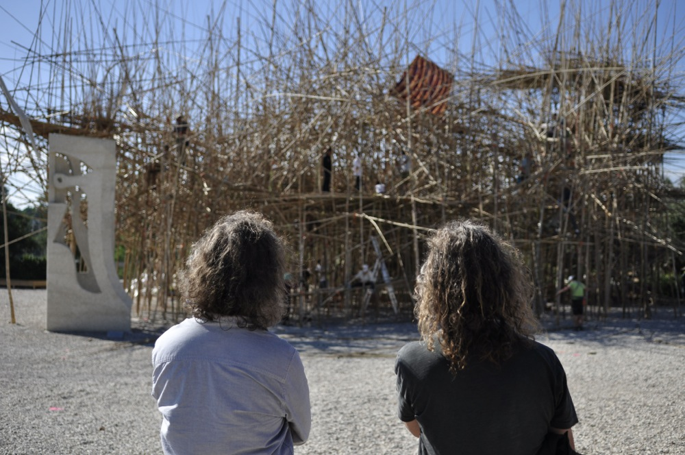 The Starn Brothers look out at Big Bambu, Israel Museum photo Elie Posner, Israrel Museum
